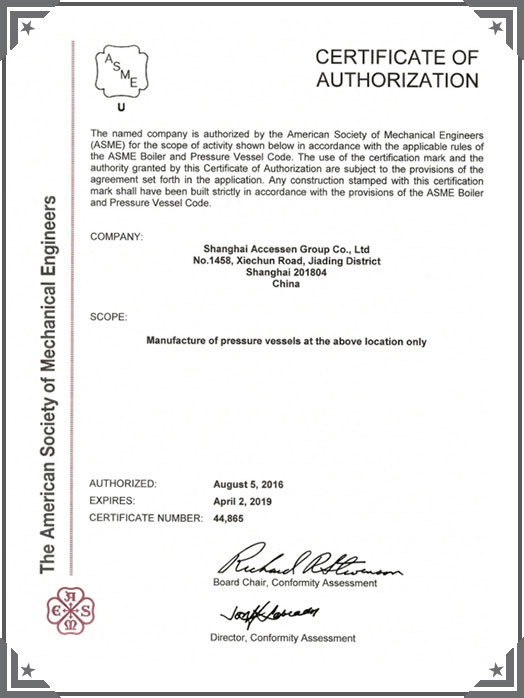 ASME (American Society of Mechanical Engineers) certification